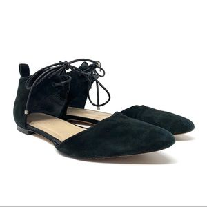 Zimmermann Suede Pointed Toe Ankle Wrap Flats
